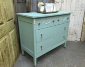Vintage Chest of Drawers, Blue Dresser, Green Dresser, Shabby Chic Dresser