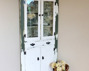 Corner China Hutch ~ Rustic Chic Decor ~ Farmhouse Hutch ~ Vintage Farmhouse Decor ~ Corner Kitchen Hutch