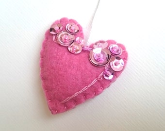 Heart ornament - felt ornaments - Valentine's day - pink heart ornament - Christmas decor - Baby shower idea - It's a Girl - home decor