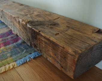 "Reclaimed Hand Hewn Fireplace Mantel Shelf 80"" x 7"" x 4"" -  Antique 1700s 1800s Barn Wood Beam Rustic Distressed Grey"