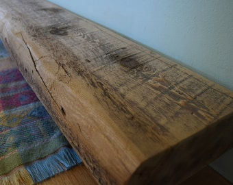 "Reclaimed Fireplace Mantel Shelf 80"" x 8"" x 3"" - Barn Beam Wood Antique 1700s 1800s Barnwood Rustic Distressed Mantle"