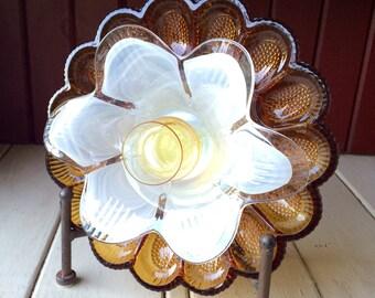 """SALE! Repurposed Glass Flower, Sun Catcher Glass Garden Art - """"Caspian"""" Marigold Scalloped Glass Crystal  Flower, Made from Glass Plates"""