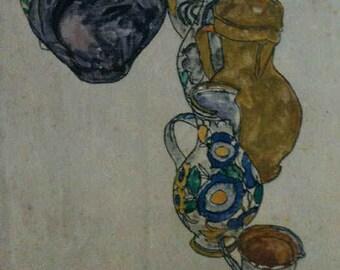 """Schiele Egon 64, Lithograph, """"Peasant Jugs"""""""