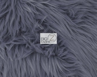 """Solid Grizzly Shaggy Fake Fur Fabric - GRAY - Sold By The Yard 60"""" Width Coats Costumes Scarfs Rugs Props Long Pile"""