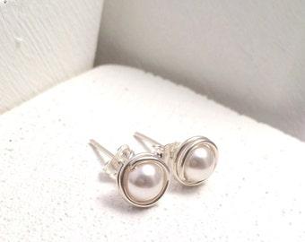 Pearl Stud Earrings | Sterling Silver | Bridal Jewellery UK | Wedding Jewellery | Sterling Silver Pearl Earrings | Pearl Earrings UK