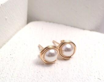 Pearl Stud Earrings | Gold Filled | Gold Pearl Studs | June Birthdtone | Pearl Earrings UK
