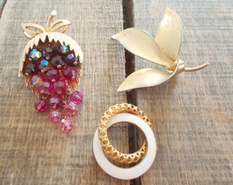Brooch Collection - Giovanni Gold Leaf Brooch, Dangle Grape Cluster Brooch, Gold and White Circle Brooch