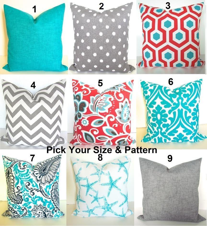 CORAL OUTDOOR PILLOWS Blue Throw Pillows Grey Decorative