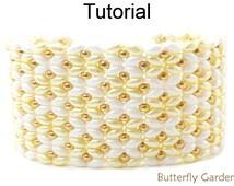 Beading Tutorial Pattern - SuperDuo Beaded Flower Bracelet - Simple Bead Patterns - Butterfly Garden #18058