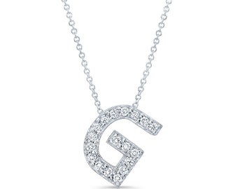"Diamond initial pendant in the letter ""G"" 14k white gold 0.20 ctw G color VS2 clarity quality"