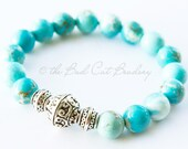 Boho Silver Tibetan Large Focal and Turquoise Eggshell Blue, Striated Stone Cream White Bead Stretch Stack Bracelet