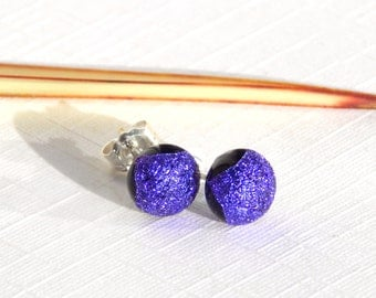 Rich Purple Dichroic Glass Sterling Silver Stud Earrings - Fused Glass Jewelry - Violet Glass Post Earrings