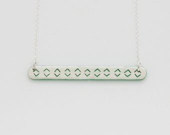 Necklace Little Engraved Green Jade