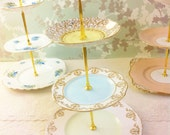 Harlequin 3 Tier Cake Stand, Vintage English China