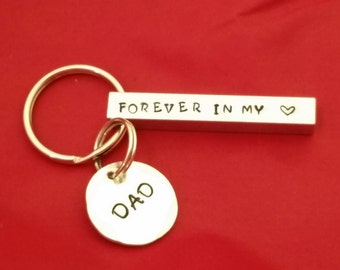forever in my heart keychain Memorial keychain in memory of dad daddy memorial loss of parent bar personalized handstamped sympathy gift