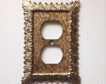 Vintage Electrical Outlet Cover 70s Decorative Switch Plate outlet Cover switchplate