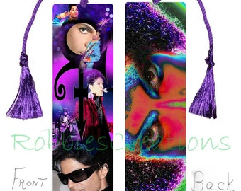 PRINCE BOOKMARK Large w/Tassel-Themed of his work Purple Rain Like it's 1999 Dove Cried Album Revolution Tribute Fan Art RIP Symbol Keepsake