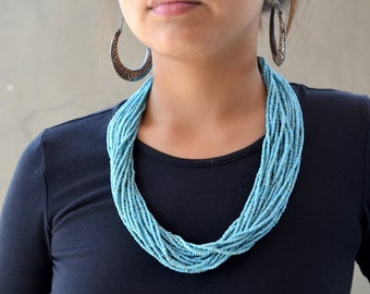 Naga blue necklace vintage multi strand glass seed beads Nepalese necklace woven back and bone button ethnic tribal folk