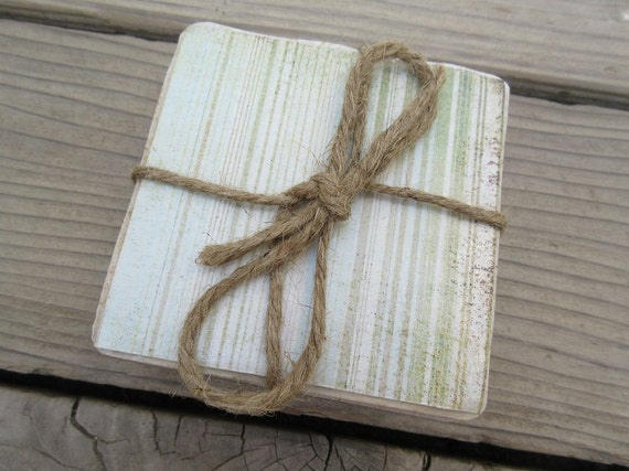 Beach House Stripe Coaster Set Of Four Wedding/House Warming Gift