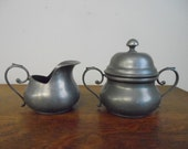 Vintage Old World Pewter Cream & Sugar Small Size Used No Tray Collectible Society of Creative Anachronism Tableware Renaissance Medieval