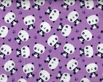 Panda Bear flannel fabric - purple  - Camelot Fabrics - by the YARD