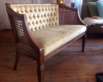 Vintage Mid Century Hollywood Regency Eames Cane Bench Love seat Settee tufted
