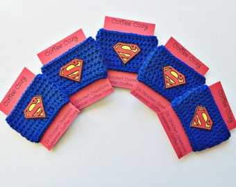 Coffee Cozy, Crochet Coffee Cozy, Superman, Mug Cozy, Cozy, Mug, Cup Cozy, Superman cup cozy, Coffee Cozy Sleeve, crochet cup cozy, Coffee