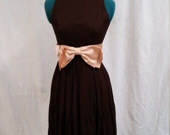 1960's lovely brown chiffon party dress
