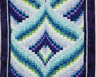 Bargello Batik Quilt-Handmade Bargello Quilt- Bargello Quilted Wall Hanging- Jewel Tone Batiks