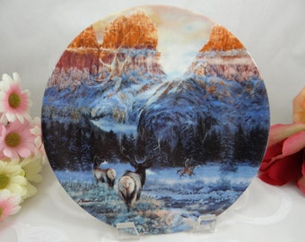 """1992 W S George Jule Kramer The Faces of Nature """"Wintering With The Wapiti"""" Collector Plate"""