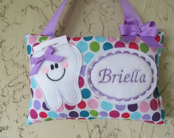 Tooth Fairy Pillow Personalized Sparkle polka dots