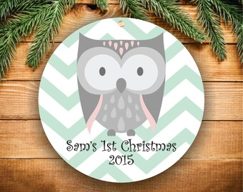 Babys First Christmas Ornament Personalized Christmas Ornament Christmas Ornament Owl Baby Boy Ornament Baby Shower Gift New Baby