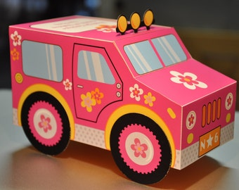 Pink jeep jungle safari Barbie tropical spa party truck paper toy car favor or treat box pdf printable text editable beach party luau
