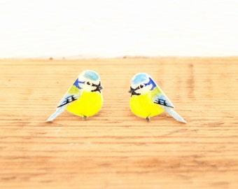 Hand drawn Blue Tit Earrings. Bird Earrings