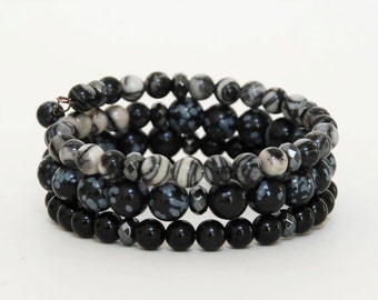 Black and Gray Natural Stone Bracelet - Black Layered Gemstone Memory Wire Bracelet