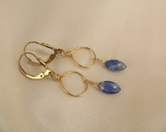 kyanite gold filled hoop earrings item 860