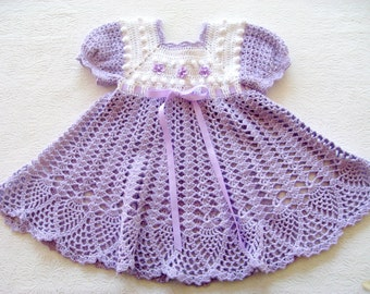 Crochet Pattern for Baby Girl Dress, PDF 12-007 INSTANT DOWNLOAD
