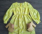 60's Yellow Daisy Dotted Swiss Bishop Sleeve Empire Waist Dress