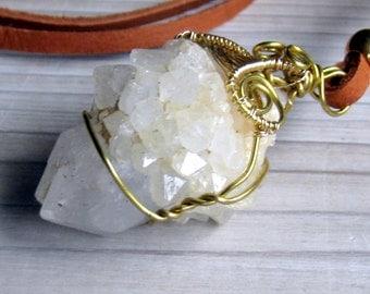 Spirit Quartz, Talisman Necklace, Quartz Necklace, Wire Wrapped Quartz, Cactus Quartz. Bohemian Jewelry, Layering Necklace, Long necklace