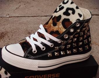 Leopard Print Spike Studded Converse