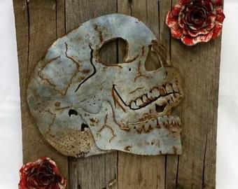 Tattoo Inspired Wall Decor - Skull and Roses