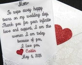 Embroidered---Lacy Personalized Wedding Handkerchief. One of a Kind Gift Envelope. Special Gift for the Groom's Mother
