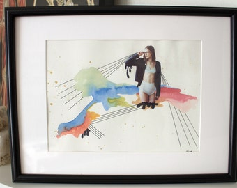 Girl Time No. 7 - Original Mixed Media Collage in Custom Frame