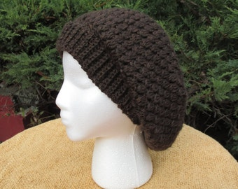 Crocheted Slouchy Hat / Brown / Beanie / Beret / Tam / Cap