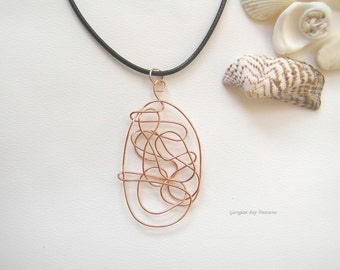 Abstract, original handmade, wire wrapped pendant, copper wire, gift under 20