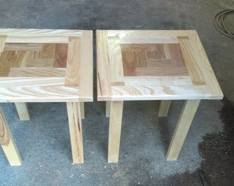 Oak and Ash inlay side tables