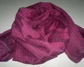 Small Scarf Indian Silk Scarf Neck Scarf Dark Purple Scarf Striped