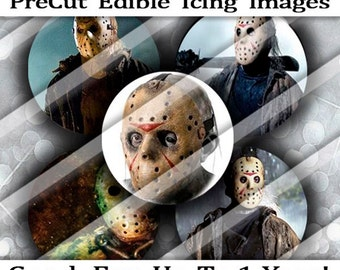 PreCut Edible Icing Frosted Image Mini Standard Cupcake Cookie Cake Lollipop Topper Scary Halloween Jason Friday 13th Monster Costume Favors