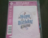 Counted Cross Stitch Kit Happy Birthday Embossed 4x5 Card Ready to ship Stitch a Card Music Theme