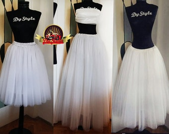 5 Layers Soft Tulle Long Bride Skirt Bridesmaid Plus Size Custom Made Tulle Skirt Maxi Tulle Skirt